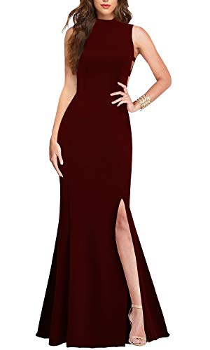 (Lamilus Formal Dresses for Women Elegance Mock Neck Sleeveless Sexy Cutout Fishtail Long Evening Wedding Guest Party Maxi Dress Prom Gown (M,Burgundy-L029))