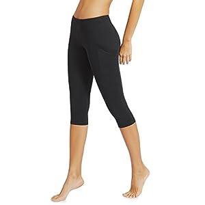 """Baleaf Women's Yoga Workout Capris Leggings Side Pocket for 5.5"""" Mobile Phone Black M"""