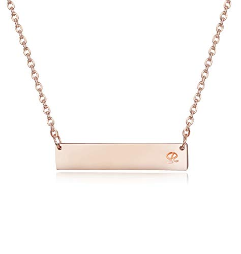 Sllaiss Personalized Initial Bar Necklace for Women Girls 925 Sterling Silver A-Z Alphabet Charm Pendant Necklace Rose Gold Plated (R) ()