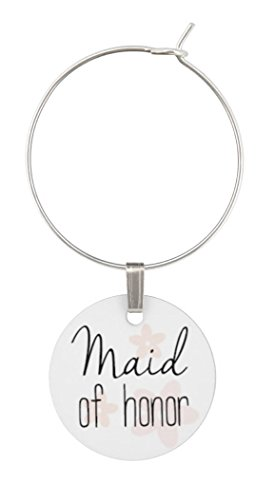 Wine Glass Charms for Wedding - Bridal Party Set of Rings, Tags, Shower Favors by TJ Formal (Image #3)