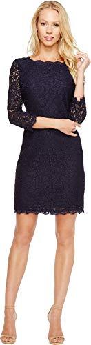 Adrianna Papell Women's 3/4 Sleeve Lace Dress, Navy, 4