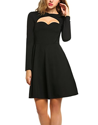 Keyhole Party - Zeagoo Women Keyhole Long Sleeve A Line Skater Party Dress