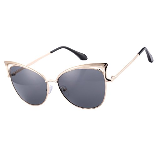 COASION Oversized Cat Eye Sunglasses for Women Fashion Metal Frame Mirrored Lens (Black, - New Sunglasses Eye Metal Look Cat