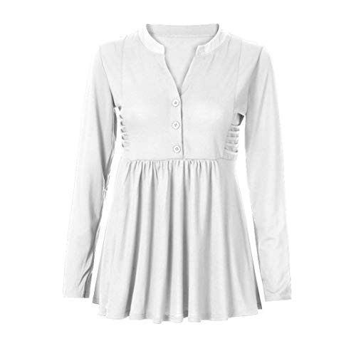 Baigoods Women's Long Sleeve Mandarin Collar Shirt Pleated Button Flare Hem Tunic Tops ()
