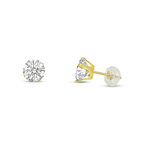 Round 4mm 14k Yellow Gold White CZ Stud Earrings, April Birthstone ()