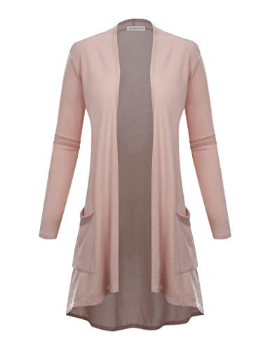 BIADANI Women's New TR Fabric Open Front Cardigan with Pockets Pink Small