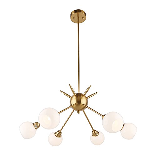 DAKYUE 6 Lights Sputnik Chandelier Modern Light Fixture Brass Pendant Light