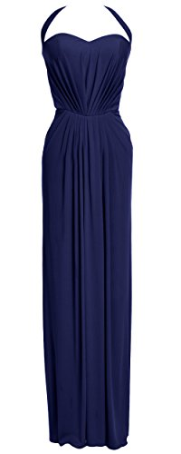 MACloth Women Halter Jersey Long Formal Evening Prom Dress Wedding Party Gown Azul Marino Oscuro