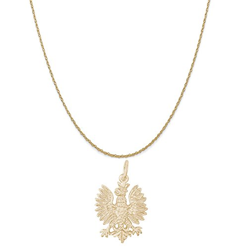 - Rembrandt Charms 14K Yellow Gold Polish Falcon Charm on a 14K Yellow Gold Rope Chain Necklace, 20