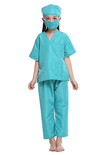 SamTaiker Kids Doctor Costumes, Children Toddler Nurse Doctor Role Play Costume Dress-Up Uniform Scrubs Set For Boys Girls (Surgical Green, (Doctor Who Boys Costume)