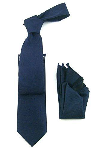 Antonio Ricci Tone on Tone Solid Pique Design Tie, Narrow Tie with matching Han kerchief Pocket square (12-Navy, 2.5