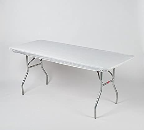 """Kwik-Covers 8' Rectangle Plastic Table Covers 30"""" x 96"""", Bundle of 5 (White)"""