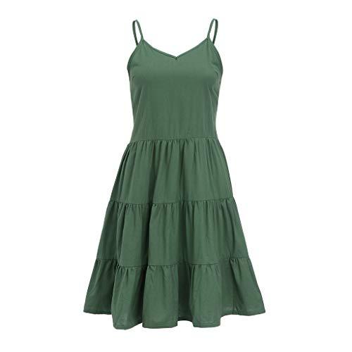 IEasⓄn Women Dress, Summer Women V-Neck Solid Sexy Sling SleevelessTightness Mini Dress Green by IEasⓄn (Image #1)