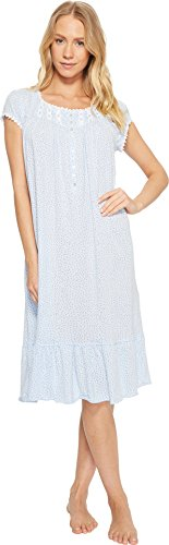 Eileen West Women's Cotton Sheer Jersey Waltz Nightgown Light Delphinium Ground Dot (Cotton Ruffled Nightgown)