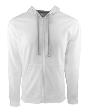 Next Level Adult French Terry Zip Hoody (9601) -WHITE/HTHR -L