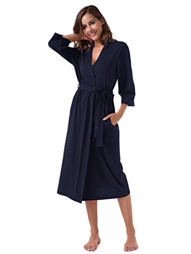 SIORO Women's Kimono Robes Cotton Lightweight Robe Long Knit Bathrobe Soft Nightgowns Sleepwear V-Neck Ladies Nightwear Navy L