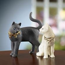 Lenox Diamond and Onyx Cat Sculptures New in Box with COA