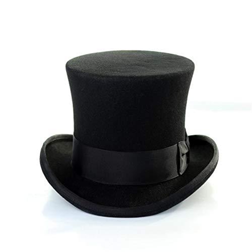Hat Men Top Hat Black Women Wool Magician Hat Sherlock British Style Solid Brand Cap 18cm