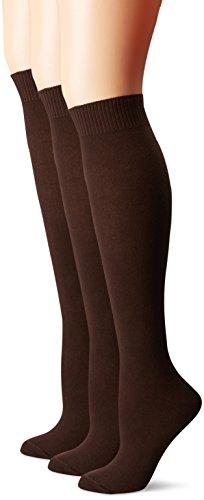 HUE Women's Flat Knit Knee Socks (Pack of 3),Espresso,One Size