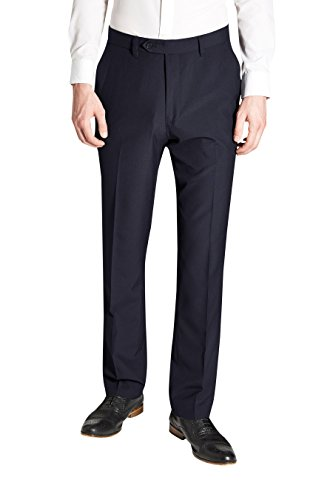 next Homme Pantalon sans pinces Bleu Marine 30 / Long - Regular Fit