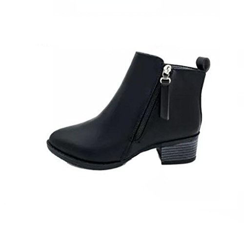 Botas Mujer,Ouneed ® Moda mujer oficina Vintage Casual botín cremallera zapatos de cuero Negro