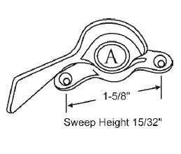STB Sweep Lock, Bronze Casting, White Bronze, 1-5/8'' Screw Holes