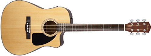 Fender CD-60CE Dreadnought Cutaway Acoustic-Electric Guitar - Natural (Kids Electric Guitar Fender)
