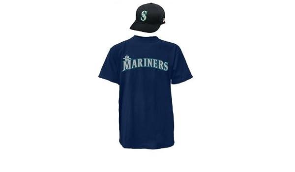 official photos f8e5e e5aa1 Amazon.com : Seattle Mariners CAP & ADULT LARGE JERSEY MLB ...