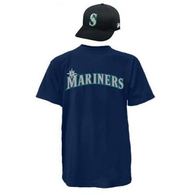 Majestic Athletic Seattle Mariners Cap & Youth Small Jersey MLB Licensed Replica Combo Set