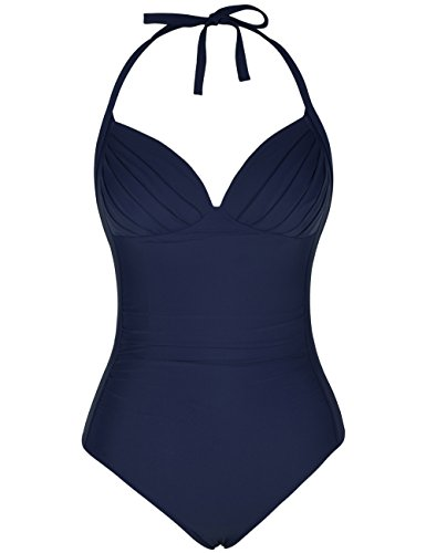 Swimwear Flattering (Firpearl Women's One Piece High Waisted Halter V Neck Plunge Retro Ruched Swimsuit Navy 6)