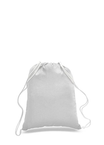 Pack of 2 - Eco-Friendly Reusable Drawstring Bag Economical 6 oz. Cotton Canvas Drawstring Bag Cinch bags size 14'W x 18'H in White color - CarryGreen Bag
