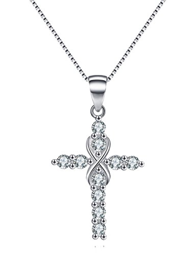 Eternal Pendant Cross Necklace (Platinum Polished Eternal Celtic Knot Cross Pendant Necklace Infinity Cross Necklace Sterling Silver Religious Jewelry mother's day gifts best gift for mother's day gifts mother's day jewelry gift)