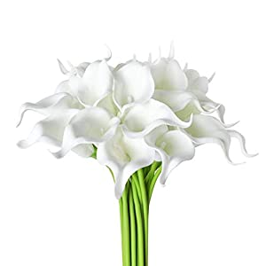 20Pcs Calla Lily Wedding Bouquet Artificial Real Touch Latex Flowers Home Wedding Party Decor (Pure White) 7
