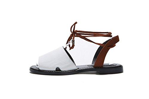 Adee Mujer Románico cierre de cordones Piel Sandalias), colores variados Blanco - blanco