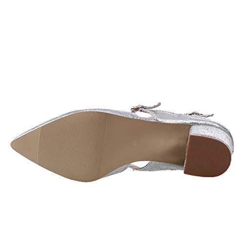 À Argent Femme Fermeture Agoolar Sandales Talon Correct D'orteil Couleur Boucle Unie Gmbla012932 dHPPxYgq
