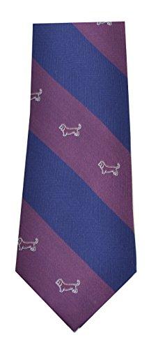 Tommy Hilfiger Men's Silk Navy Blue/maroon Diagonal Hound Dog Stripe Neck Tie (Blue)