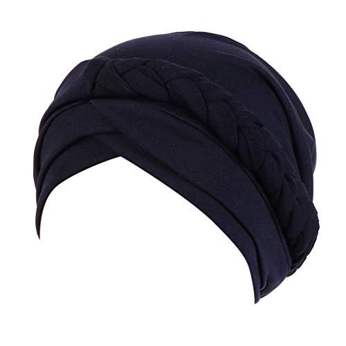 FEDULK Women's Islamic India Hat Plain Ruffle Cancer Chemo Beanie Turban Muslim Wrap Cap(Navy)