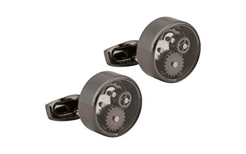 - Knighthood Black Vintage Gear Quartz Watch Cufflinks