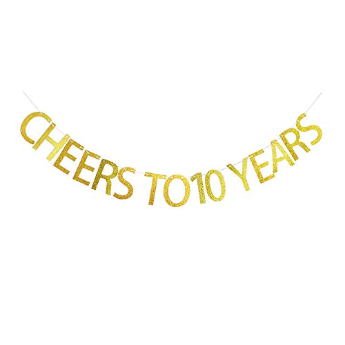 Cheers to 10 Years Banner, Funny Decorations for 10th Birthday Party, 10 Years Old Birthday Party Supplies, Gold Gliter Party Sign