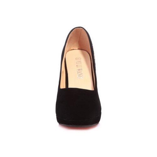 High Black Spikes Rhinestones Solid Stitlettos with Toe Platform Ladies Round VogueZone009 Heel PU Closed Pumps 0x6SaI
