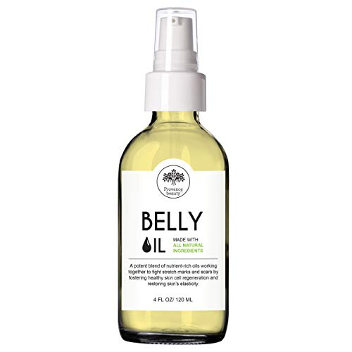 Provence Beauty | Belly Oil - Stretch Mark, Scar Prevention & Reduction Therapy, Safe for Use During Pregnancy & Postmortem - 4OZ