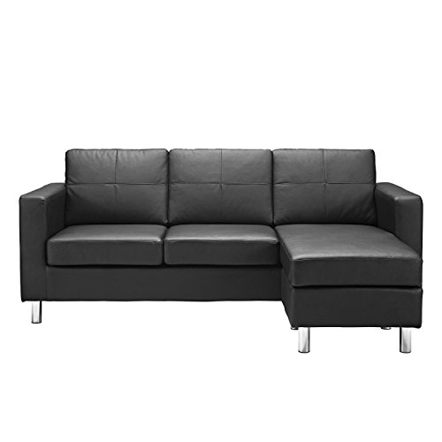 Modern Bonded Leather Sectional Sofa - Small Space Configurable Couch - Black Bonded Leather Sofas