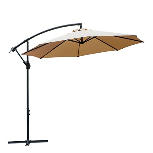 WARM HARBOR Offset Hanging Patio Umbrella Aluminum Outdoor Cantilever Umbrella Crank Lift (10 Ft-Beige) by WARM HARBOR