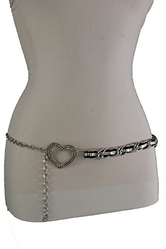 TFJ Women Fashion Skinny Belt Hip High Waist Silver Metal Chain Heart Buckle S M L (Heart Cool Belt Buckle)