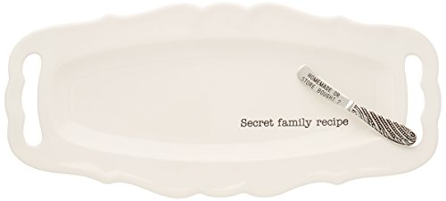 Mud Pie 4071154 Secret Family Recipe Ceramic Platter, White