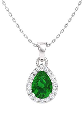 Diamondere Natural and Certified Pear Emerald and Diamond Halo Drop Petite Necklace in 14k White Gold | 0.33 Carat Pendant with Chain