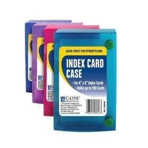 C-Line 58046 Index Card Case, Holds 200 4 x 6 Cards, Polypropylene, 1 Assorted Color (Index Card Case)