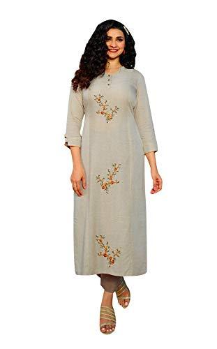 ladyline Handwork Embroidery Sober Kurta with Pants Set Indian Kurti Tunic for Women