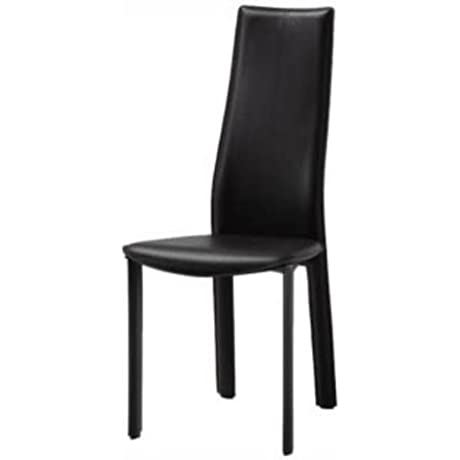 Whiteline DC1004H BLK Allison Dining Chair Black Hard Leather Matching Stitching Pack Of 4