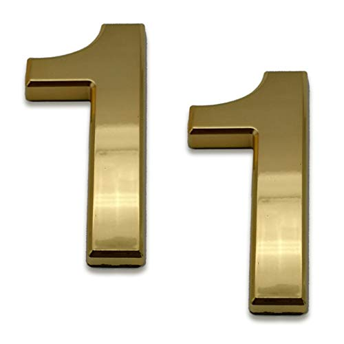 2 Pcs 4 Inch House Numbers 1, Self-Stick Gold Address Sign Number Stickers for (Mailbox Post, Apartment Door, Outside…